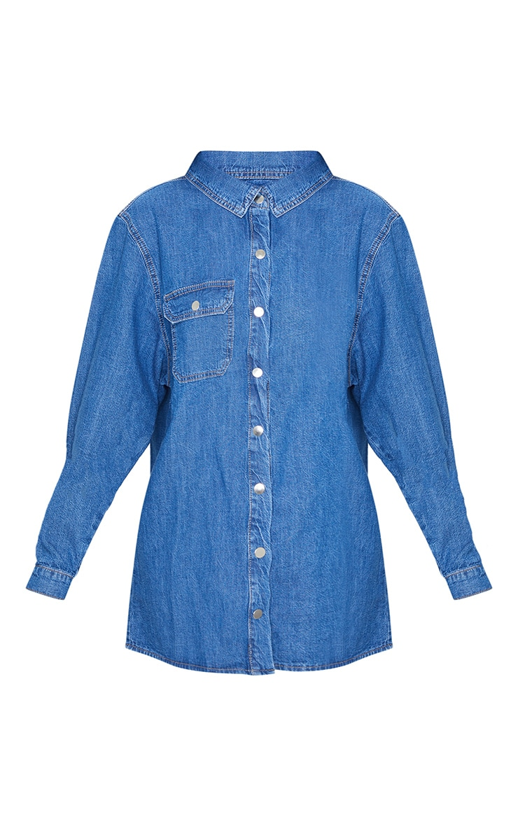 Mid Blue Wash Popper Denim Shirt 4