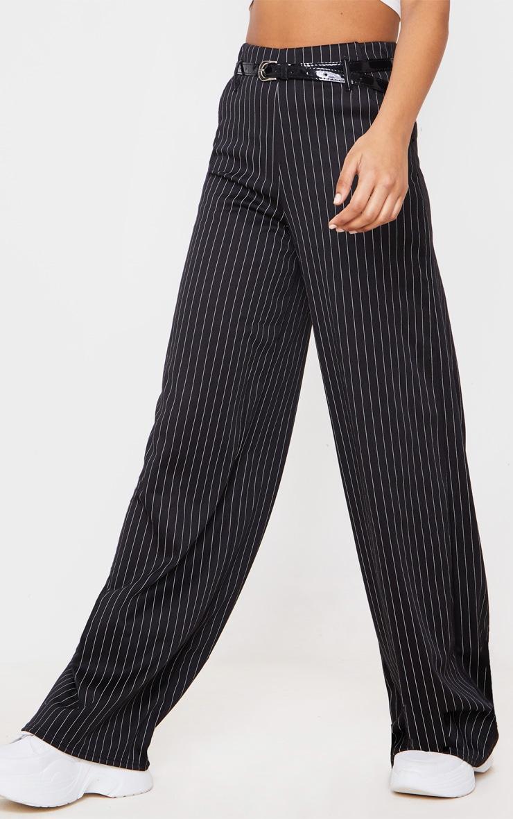 Black Pinstripe Wide Leg Belted Pants 2
