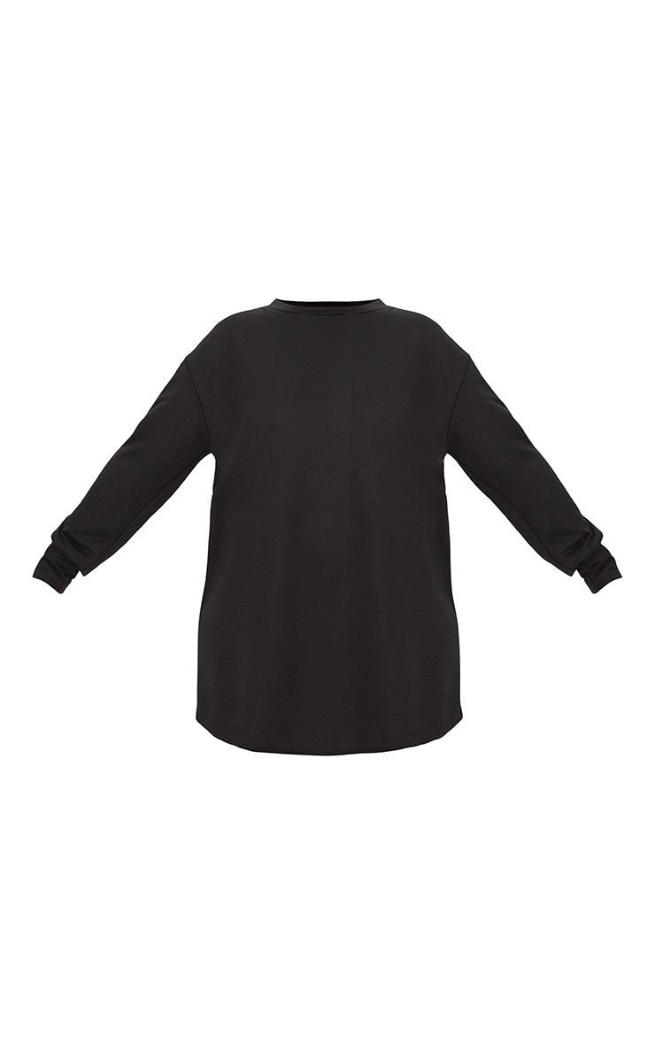 Plus Black Sports Stripe Sweater Dress 3