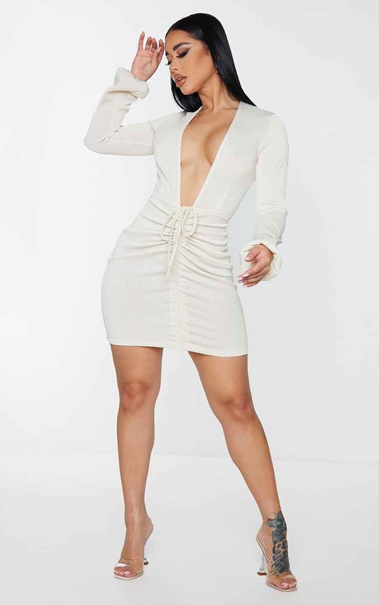 Shape Cream Rib Plunge Ruched Detail Bodycon Dress 3