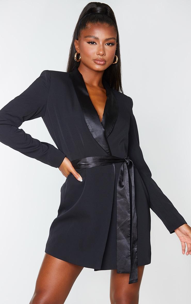 Black Satin Lepel Tie Waist Blazer Dress 1