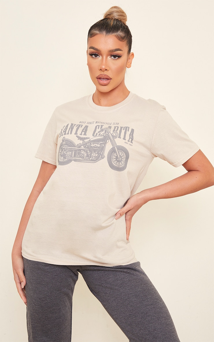 Sand Santa Clarita Motorcycle Print Fitted T Shirt 1
