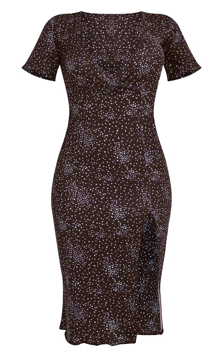 Black Ditsy Print Split Lettuce Hem Midi Dress 5