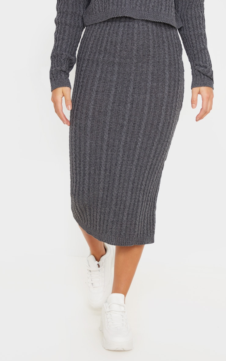 Petite Charcoal Knitted Midi Skirt 2