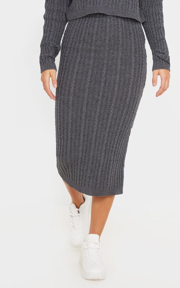 Petite Charcoal Knitted Midi Skirt 3
