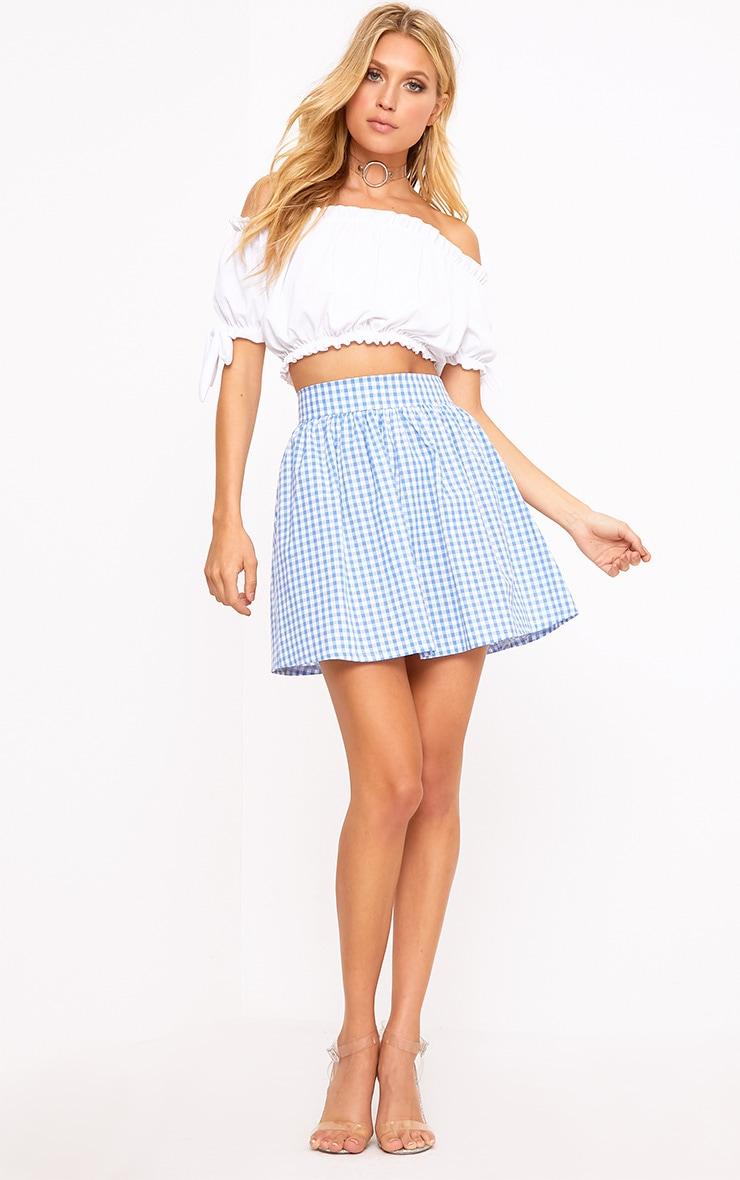 Rosae Blue Gingham Floaty Mini Skirt  4