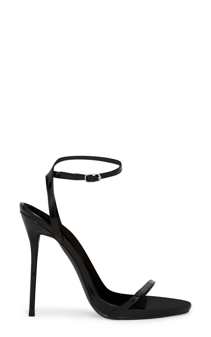 Black Patent PU Single Strap Stiletto Sandals  3