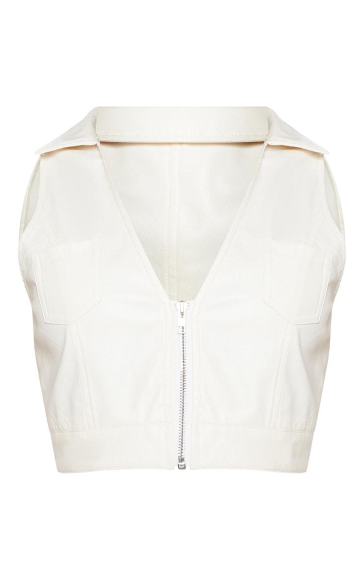 Shape Cream Faux Leather Pocket Detail Collar Crop Top 3