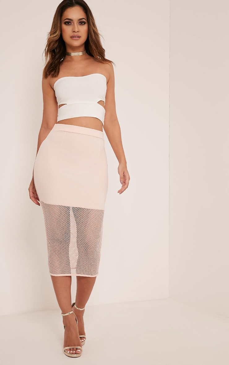 Lina Blush Fishnet Hem Midi Skirt 1