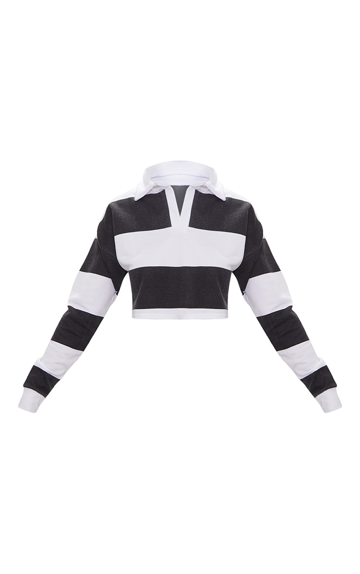 Black Stripe Collar Polo Long Sleeve Crop Top 3
