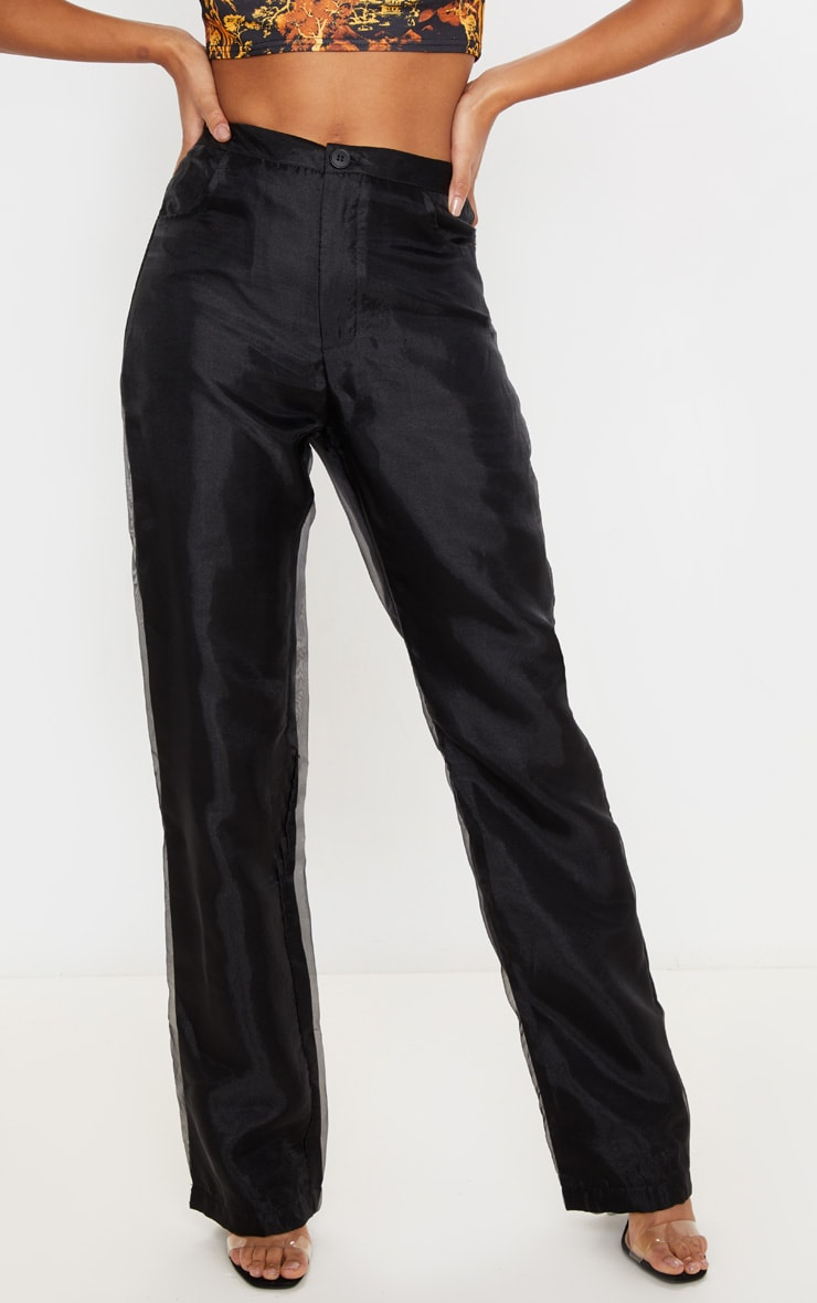 Black Organza Straight Leg Pants 2