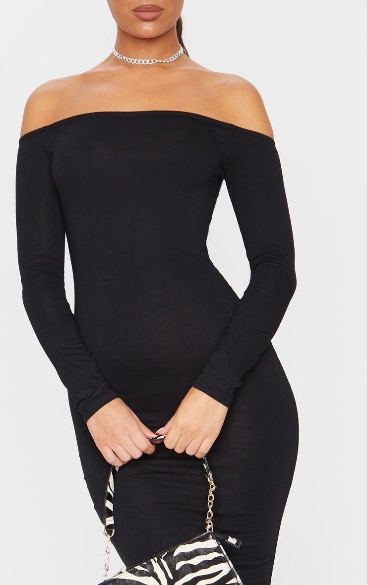 Basic Black Jersey Bardot Midi Dress 4
