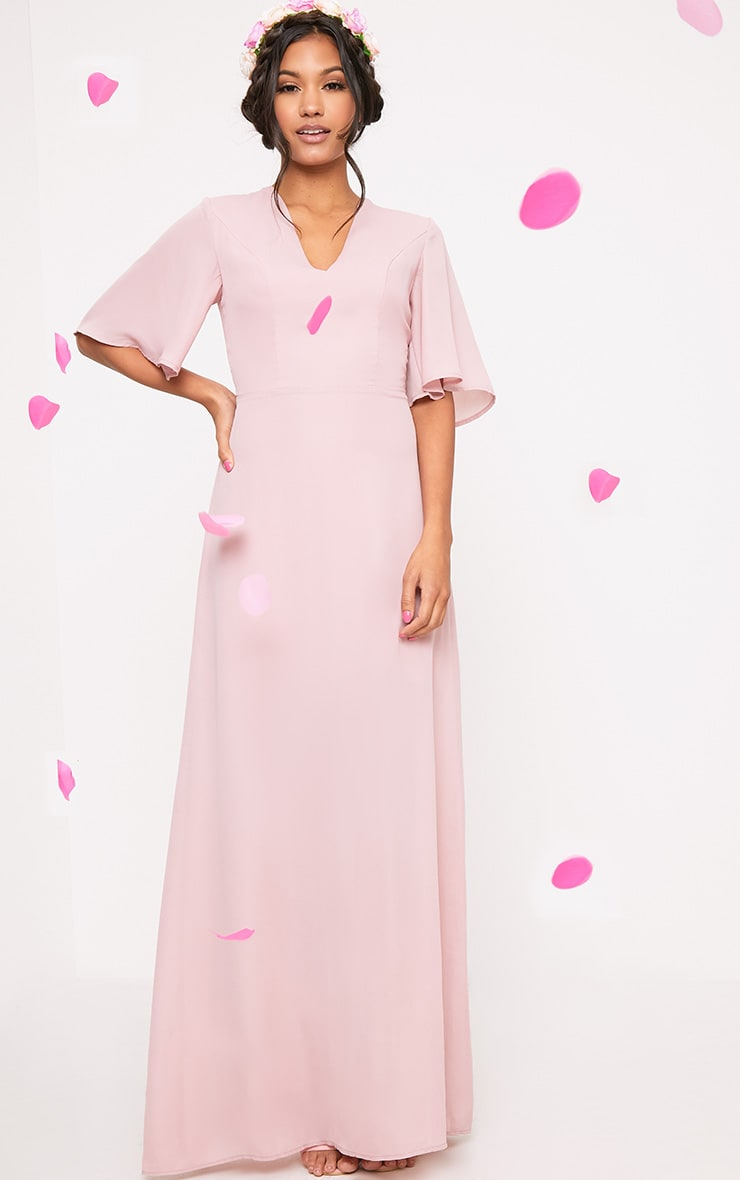 Lucilla Dusty Pink Lace Up Detail Maxi Dress 2