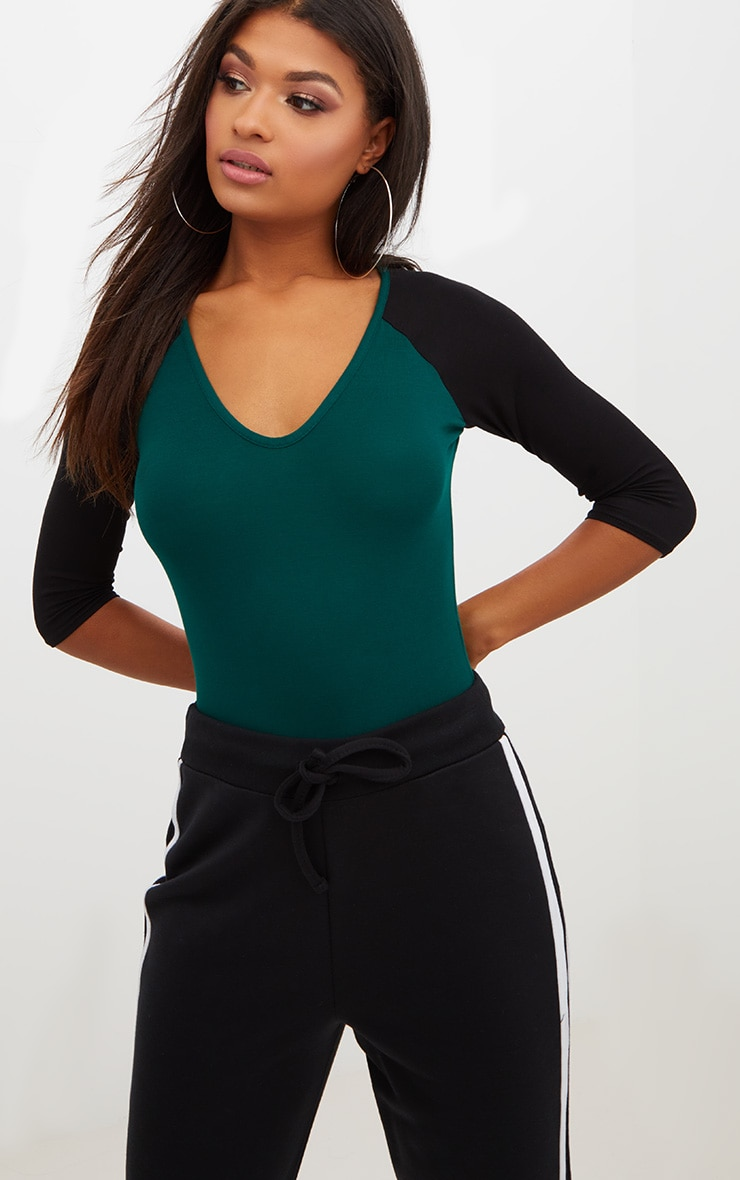 Forest Green Jersey Contrast Sleeve Thong Bodysuit 2