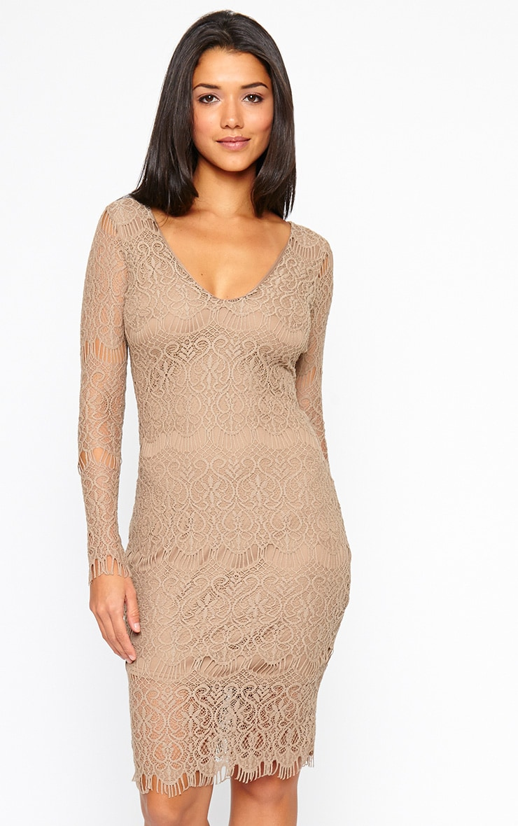 Lenix Mocha Lace Midi Dress 4