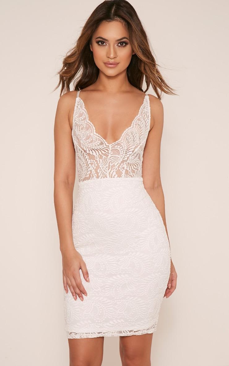 Lucila White Sheer Lace Bodycon Dress 1
