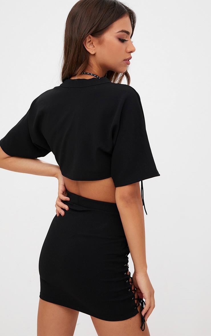 Black Lace Up Detail Crop Top 2