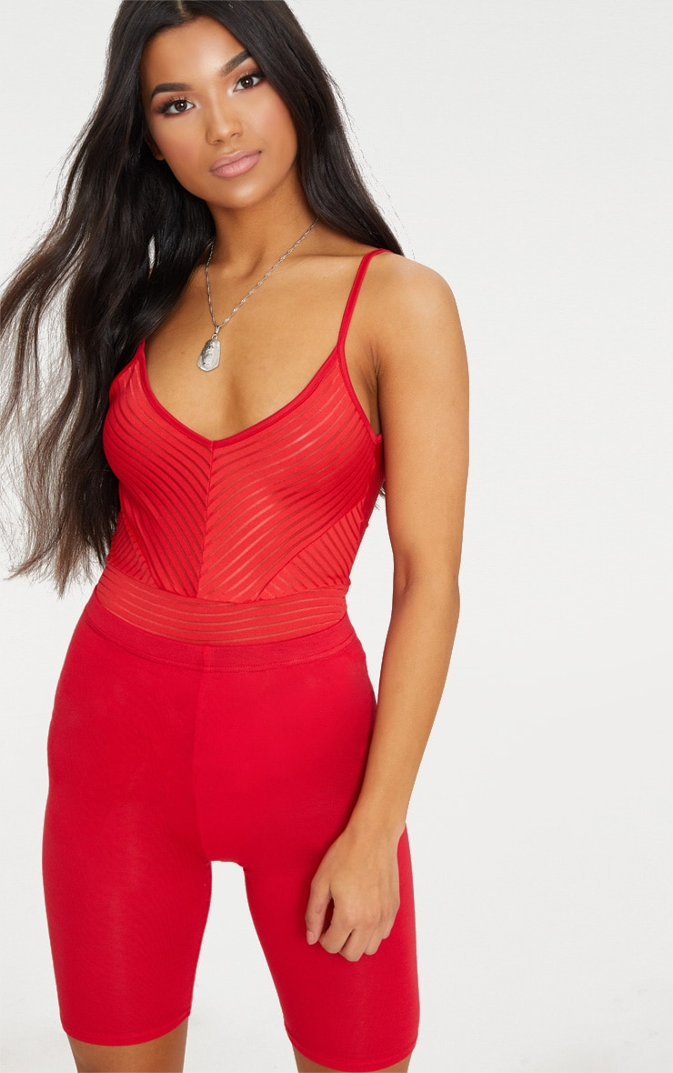 Red Chevron Mesh Thong Bodysuit  1