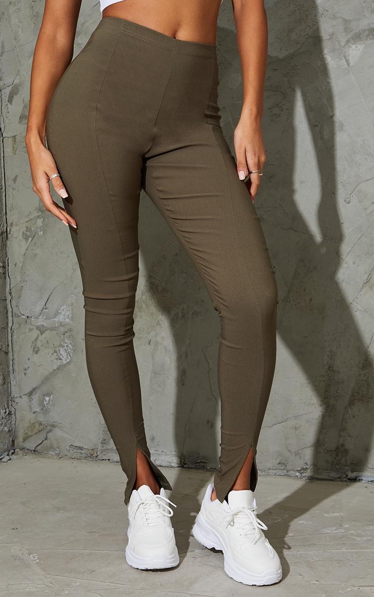 Khaki Stretch Split Hem Skinny Trousers 2