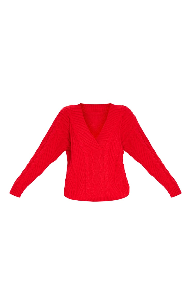 Red Deep V Oversized Cable Knit Jumper 4