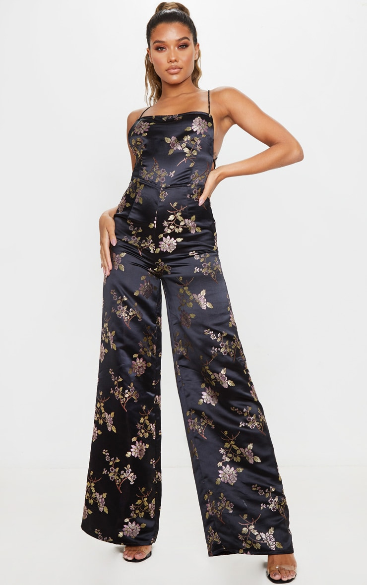 Black Oriental Satin Lace Up Back Jumpsuit 3