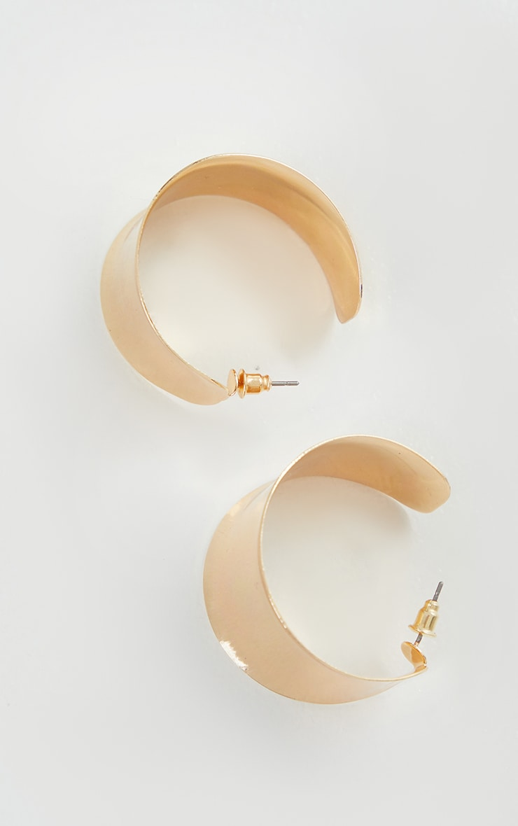 Gold Small Chunky Hoop Earrings 3