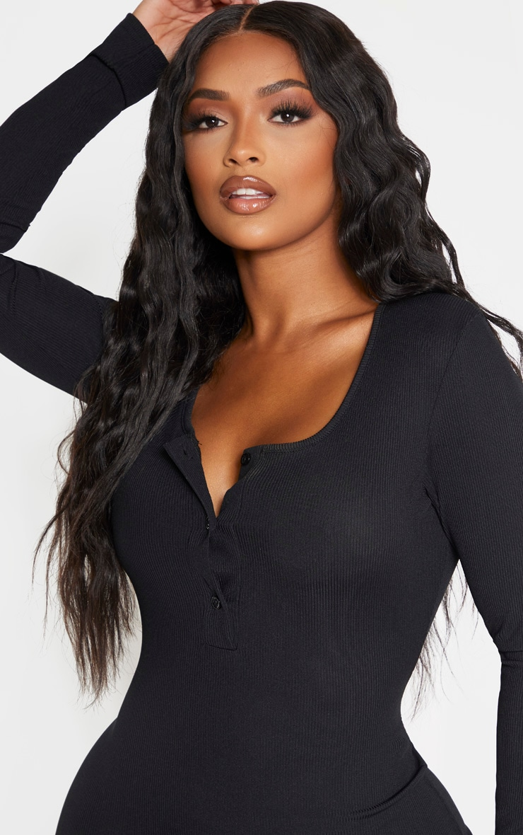 Shape Black Ribbed Button Front Long Sleeve Midaxi Dress 4