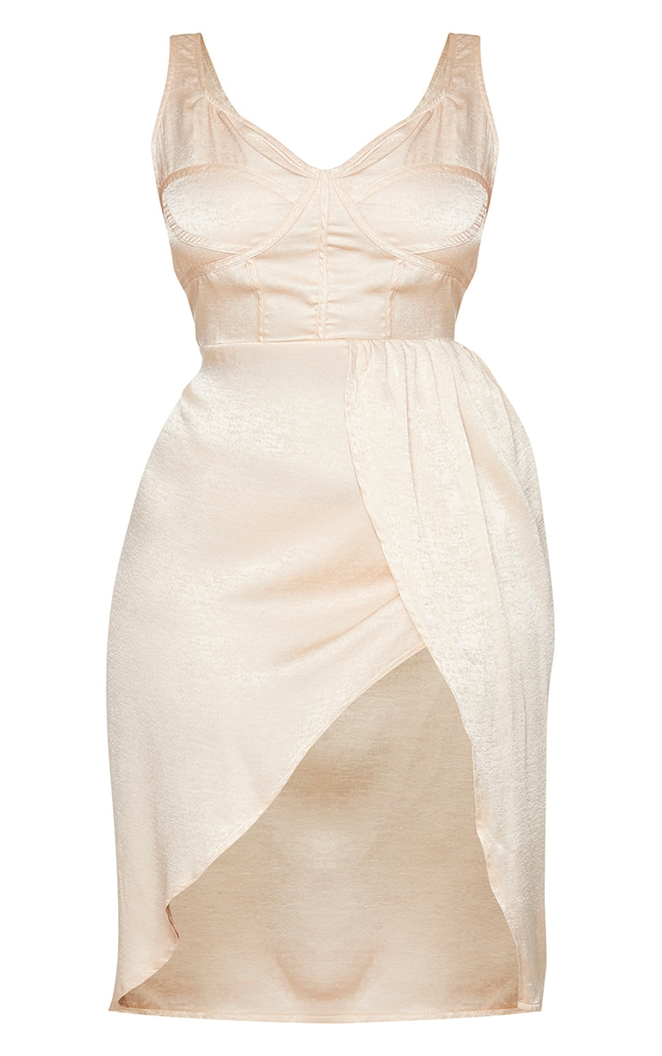 Plus Champagne Corset Detail Wrap Midi Dress 5
