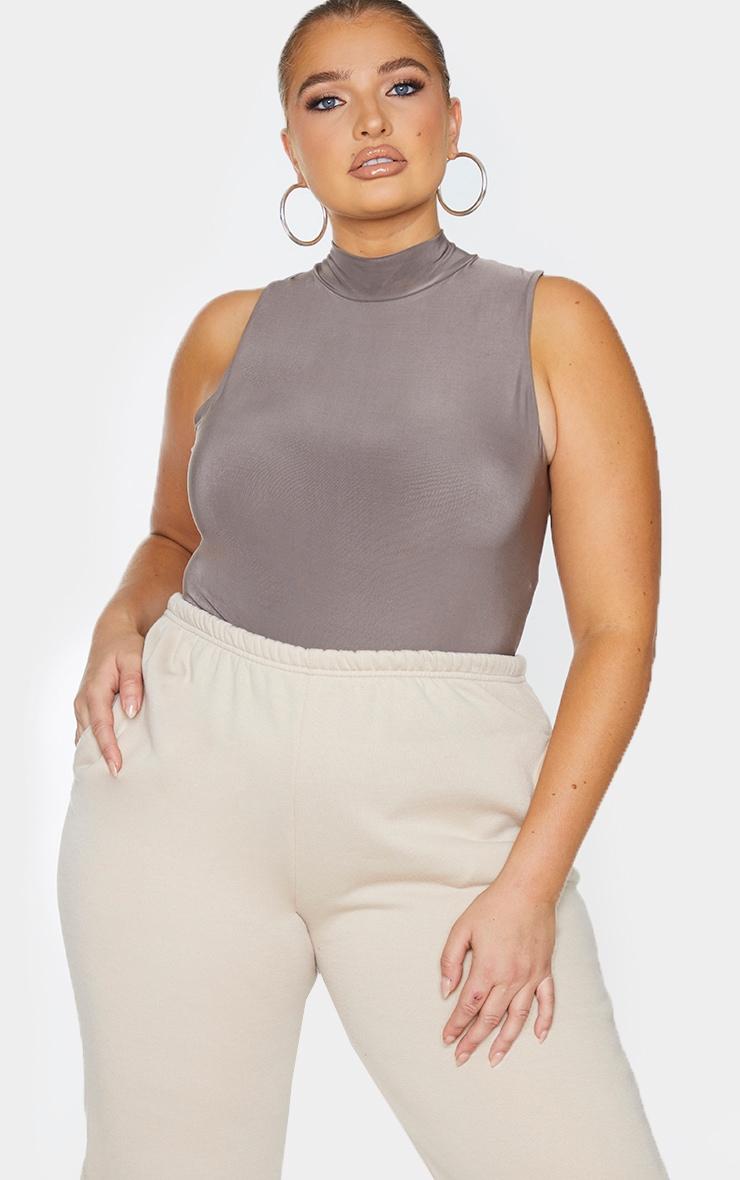 Plus Slate Slinky High Neck Sleeveless Bodysuit 1