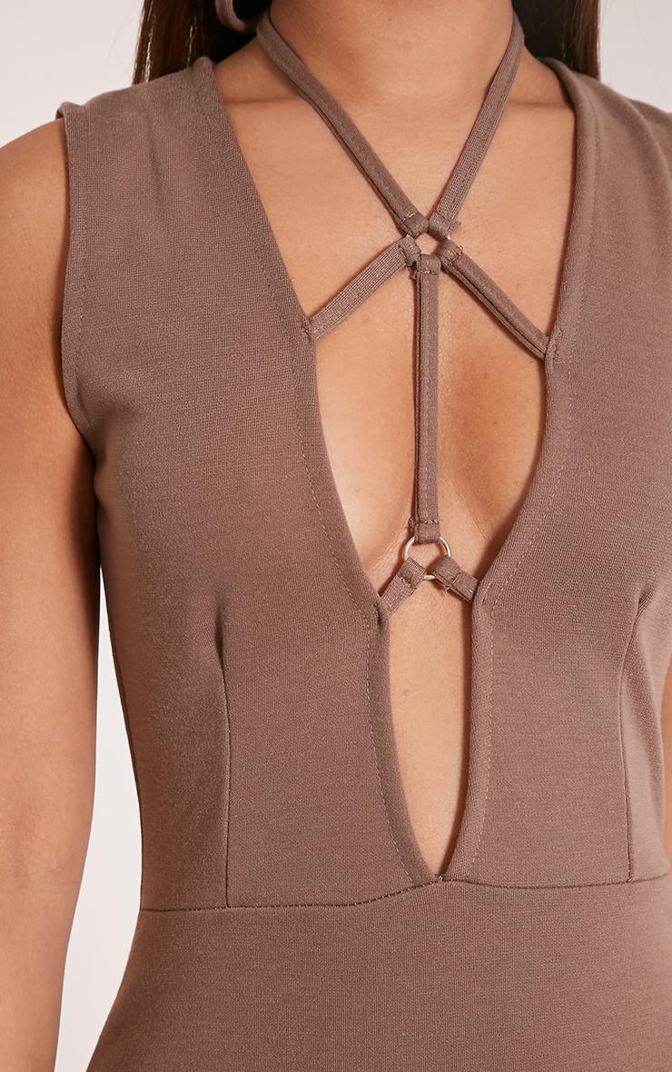 Raynie Mocha Sleeveless Harness Bodycon Dress 6