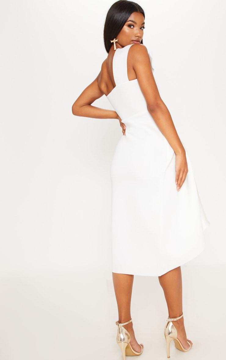 White Bonded Scuba Pleated Draped Midi Dress 2