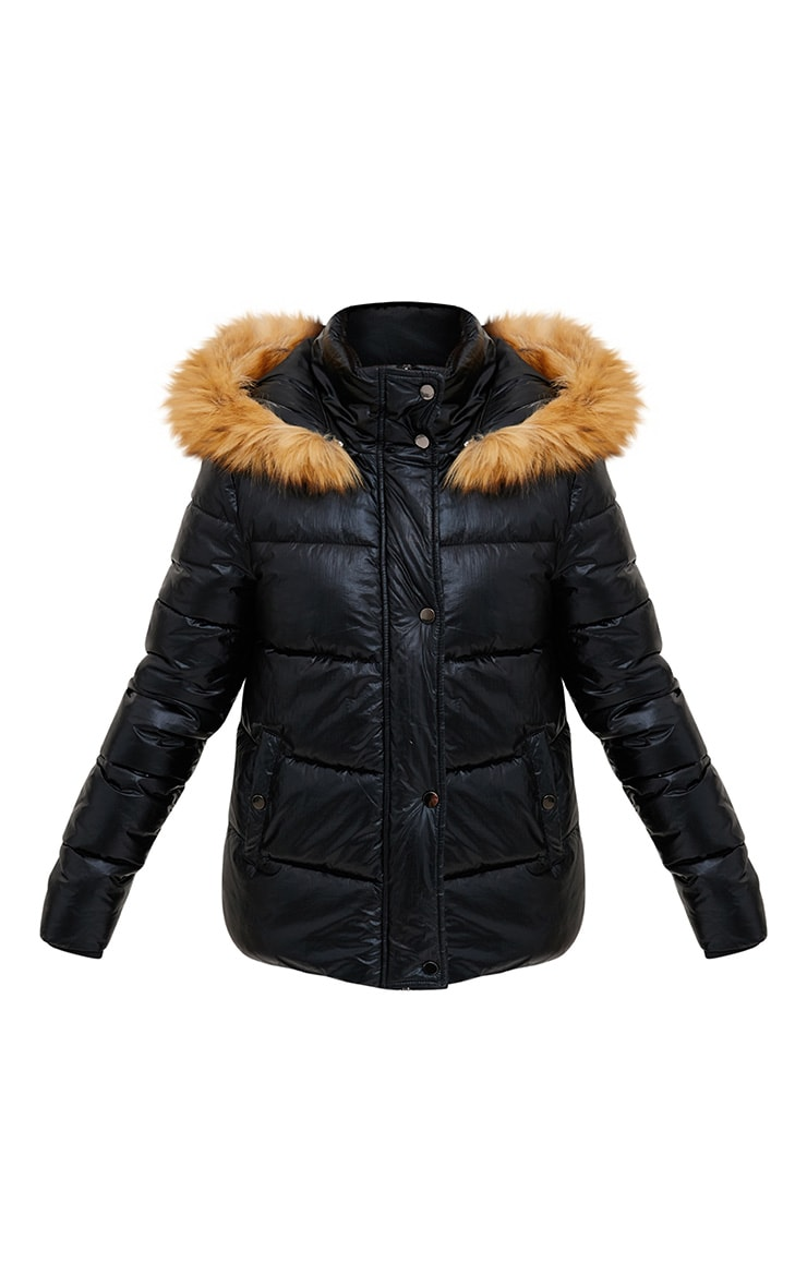 Black Foil Puffer Jacket With Faux Fur Hood 3