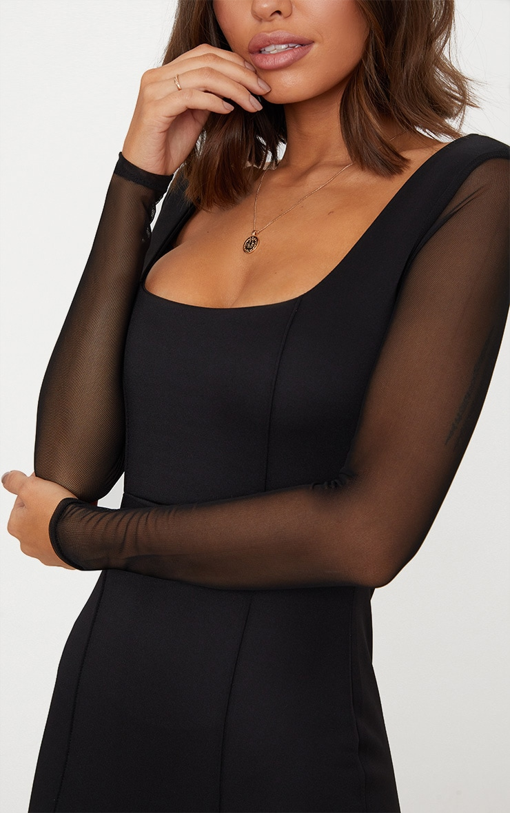 Black Square Neck Mesh Sleeve Panelled Bodycon Dress 5