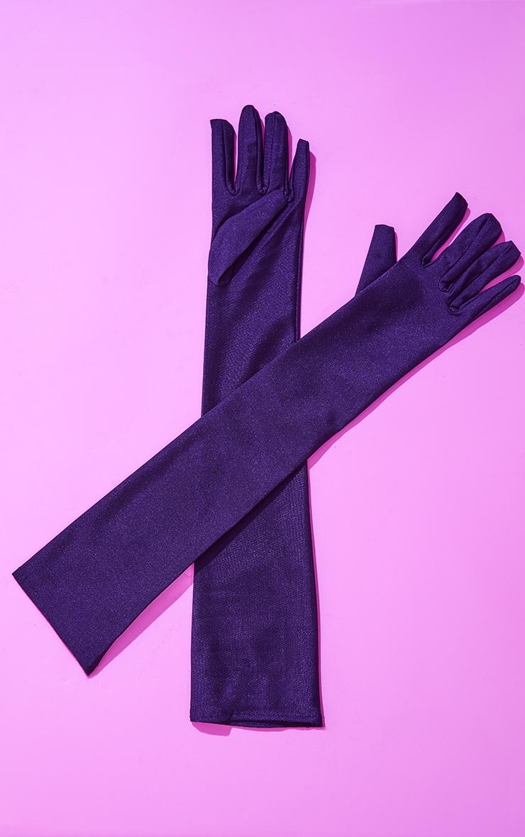 Black Plain Satin Long Gloves 3