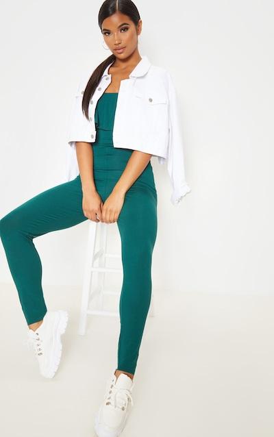 Emerald Green Bardot Frill Jersey Jumpsuit