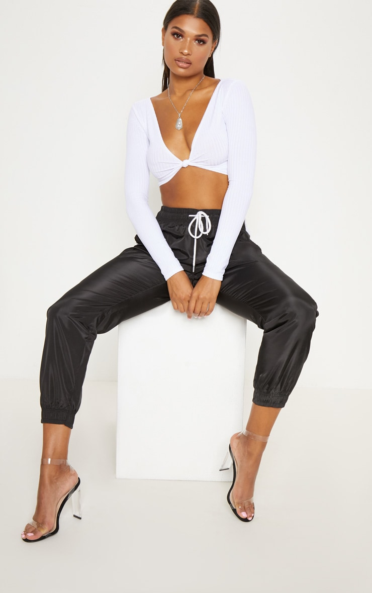 White Knot Front Long Sleeve Crop 3