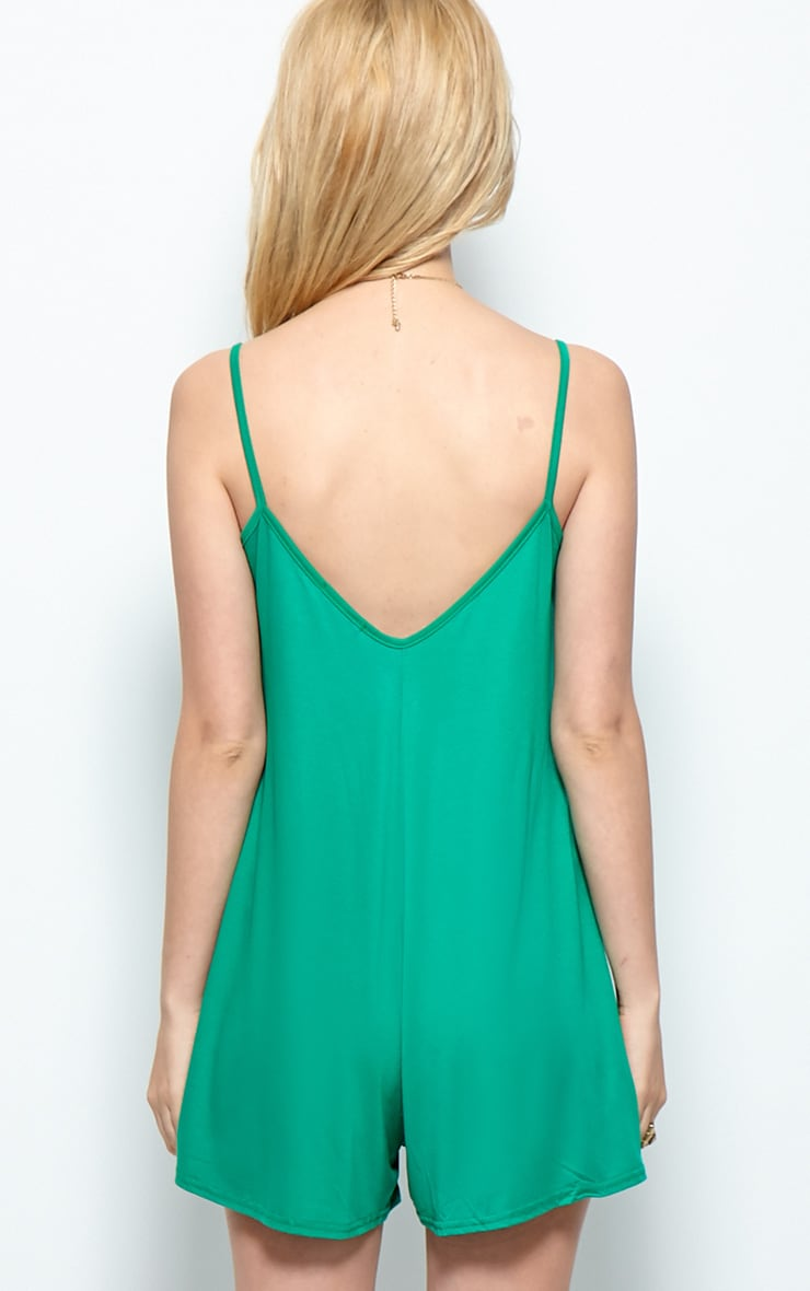 Isabel Green Strappy Swing Playsuit 2