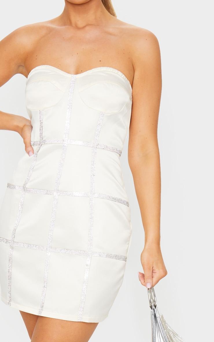 Champagne Bonded Satin Diamante Binding Detail Bandeau Bodycon Dress 4
