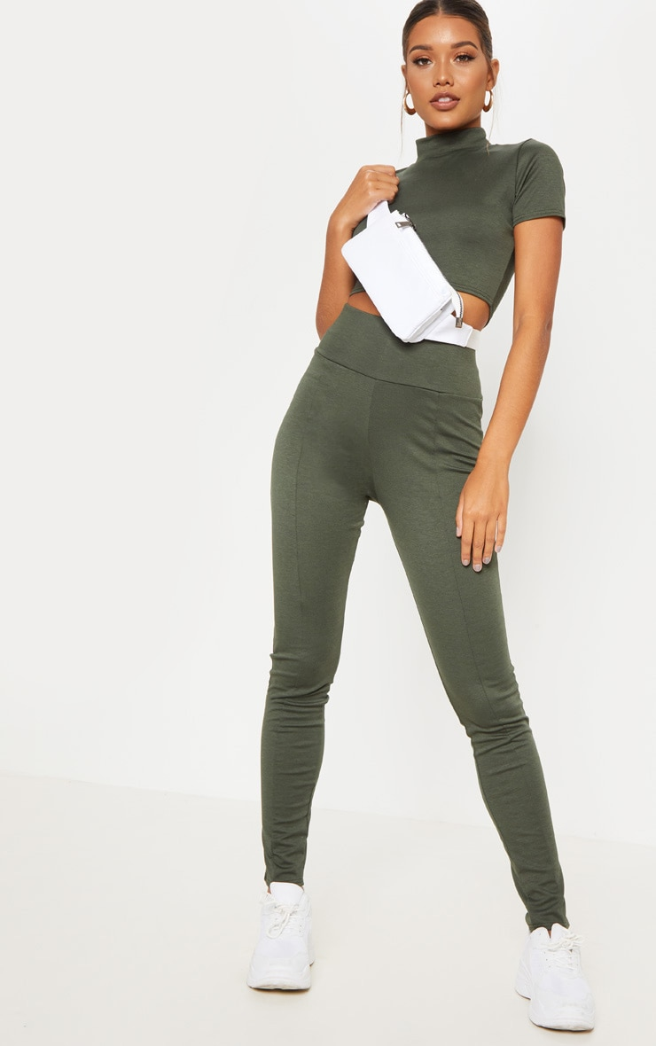 Khaki Jersey Panelled High Waisted Legging