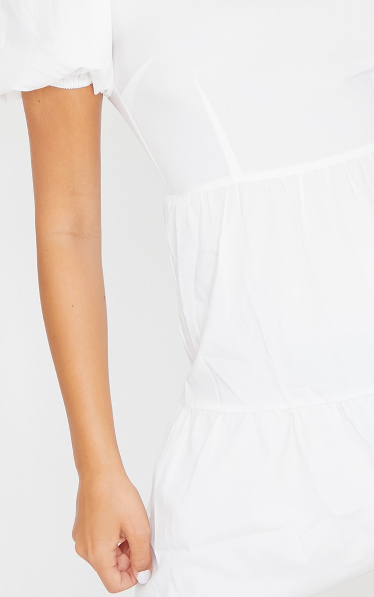 White Woven Tiered Puff Sleeve Smock Dress 4