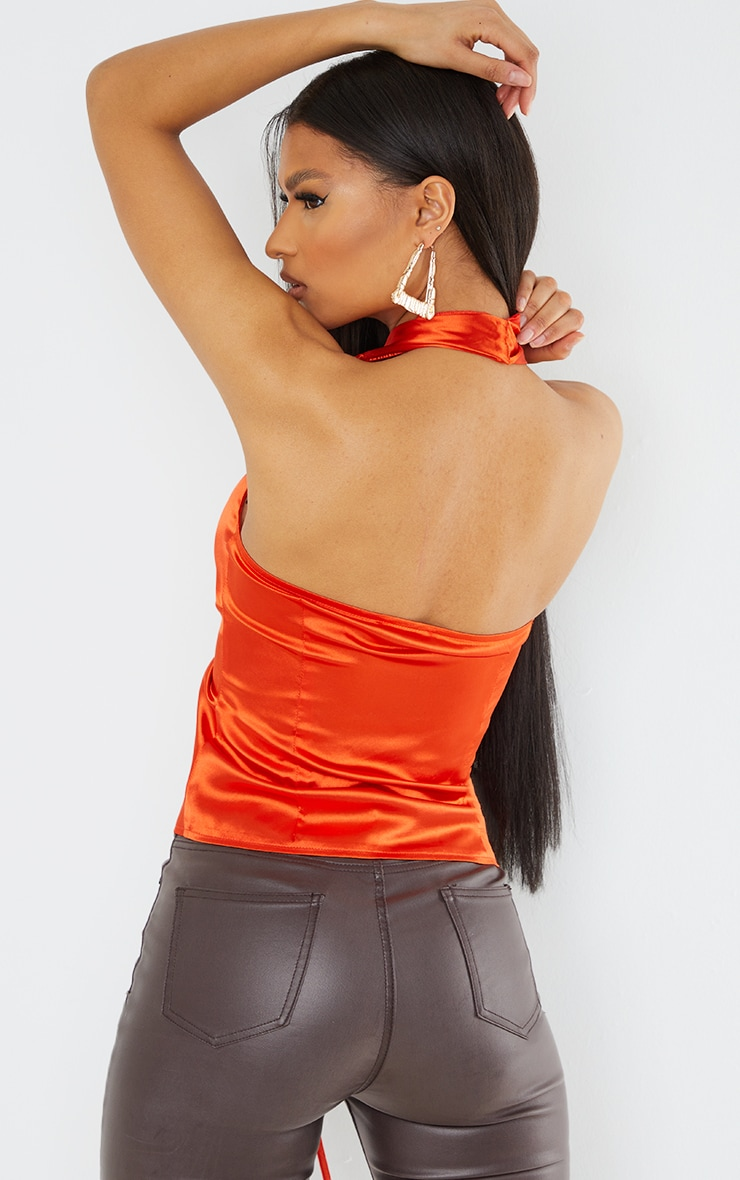 Hot Orange Satin Ruched Front Halterneck Long Top 2