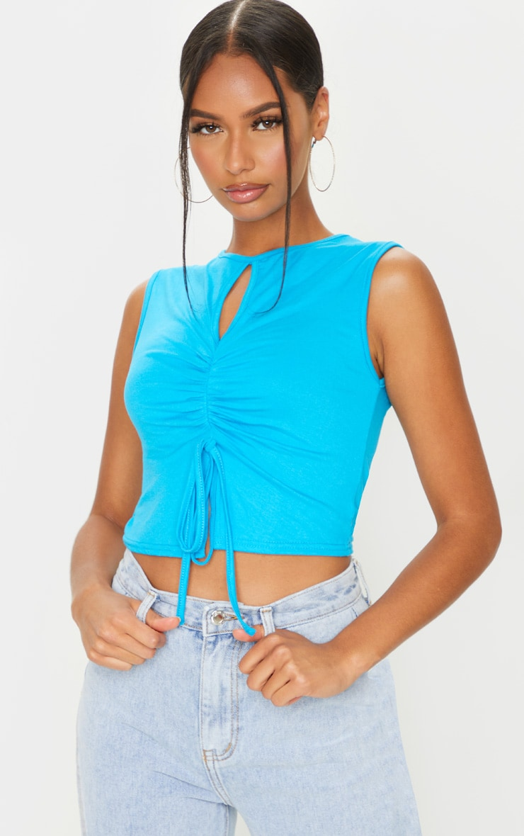 Bright Blue Jersey Keyhole Cut Out Ruched Tie Crop Top 1