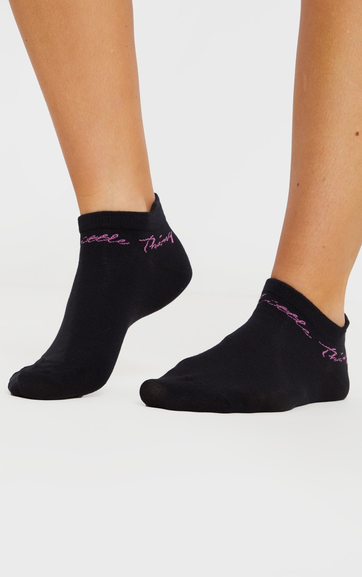 PRETTYLITTLETHING Black Trainer Socks 1
