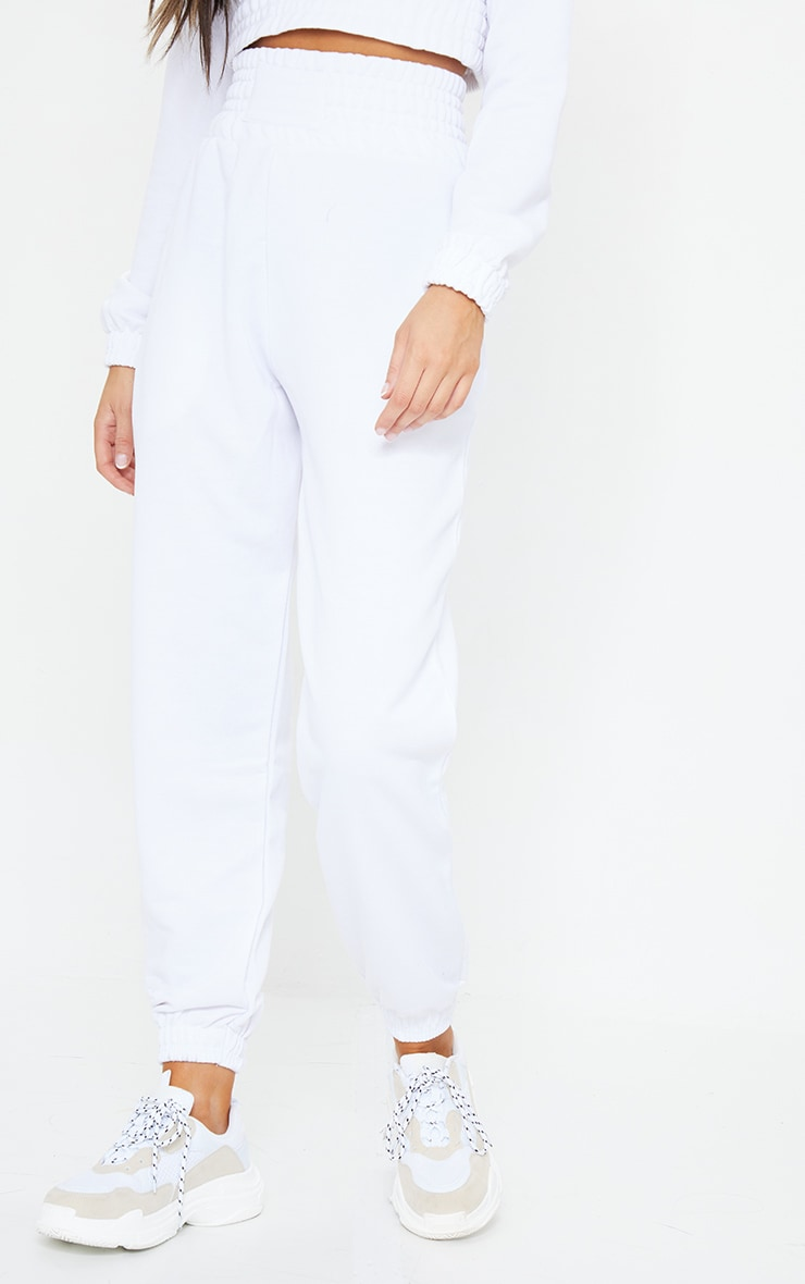 White Shirred Waist Panel Joggers 2