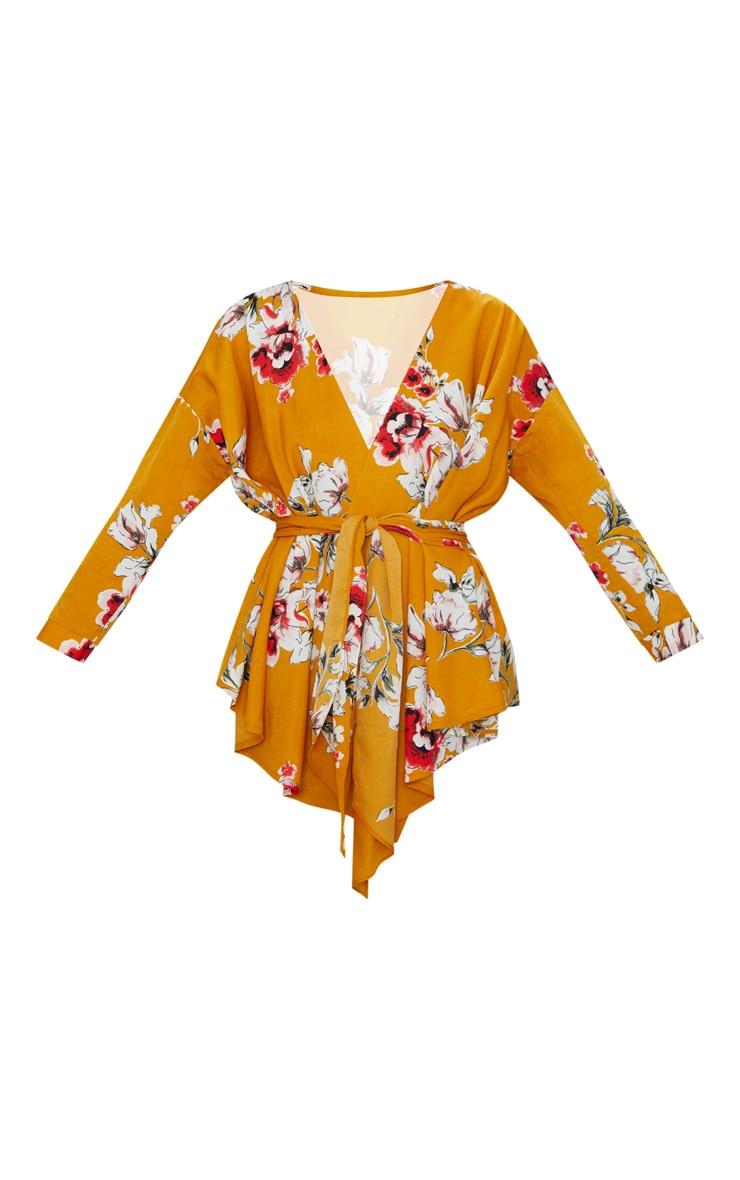 Mustard Large Floral Print Tie Waist Blouse  3