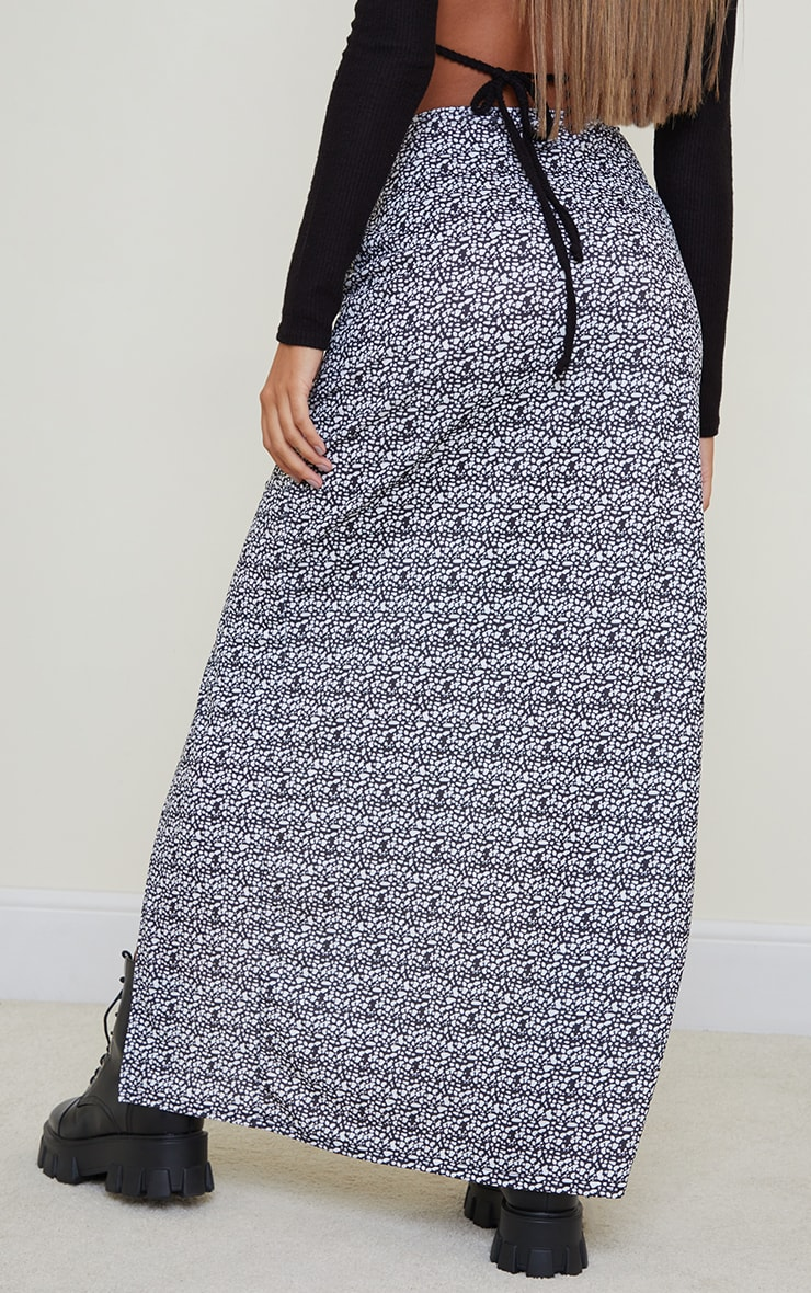 Dalmatian Print Double Split Hem Maxi Skirt 3