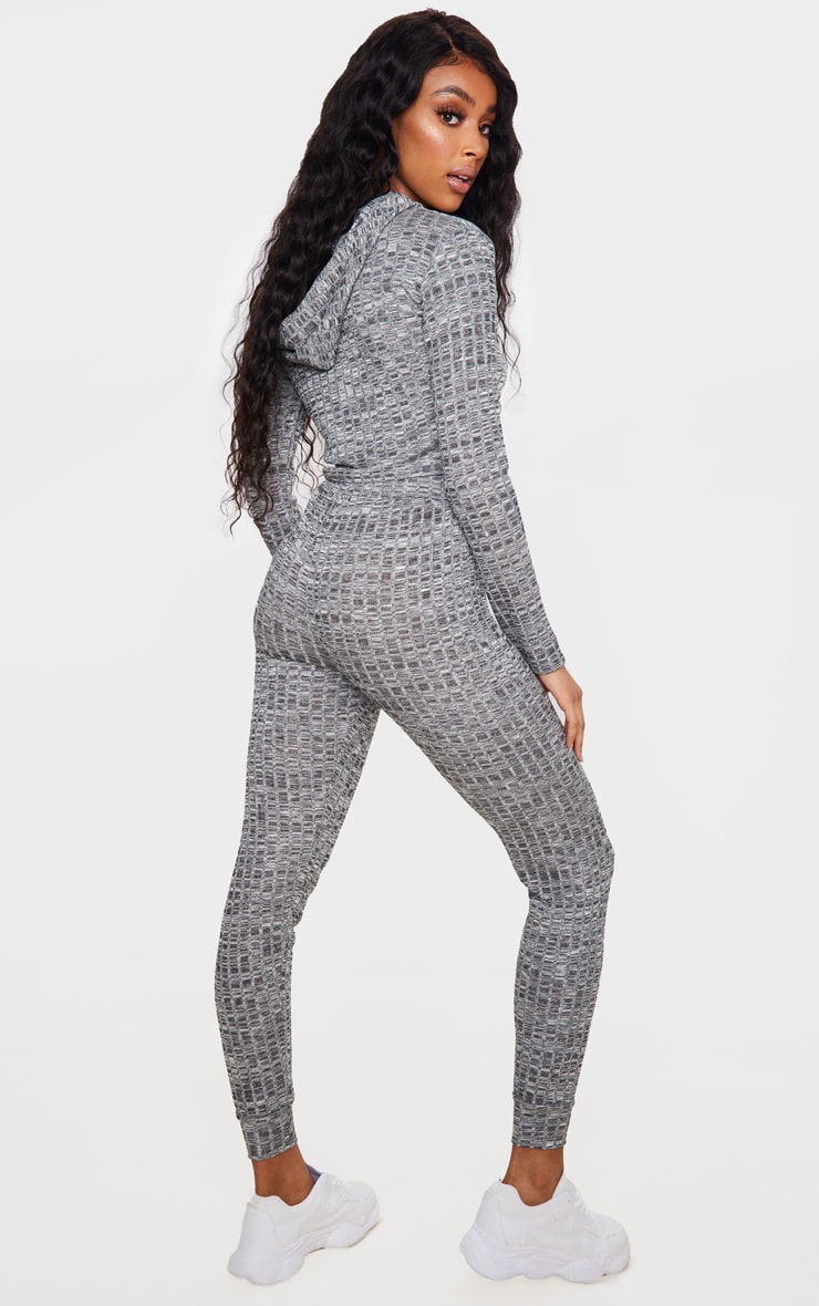 Grey Hooded Knitted Joggers Set 2