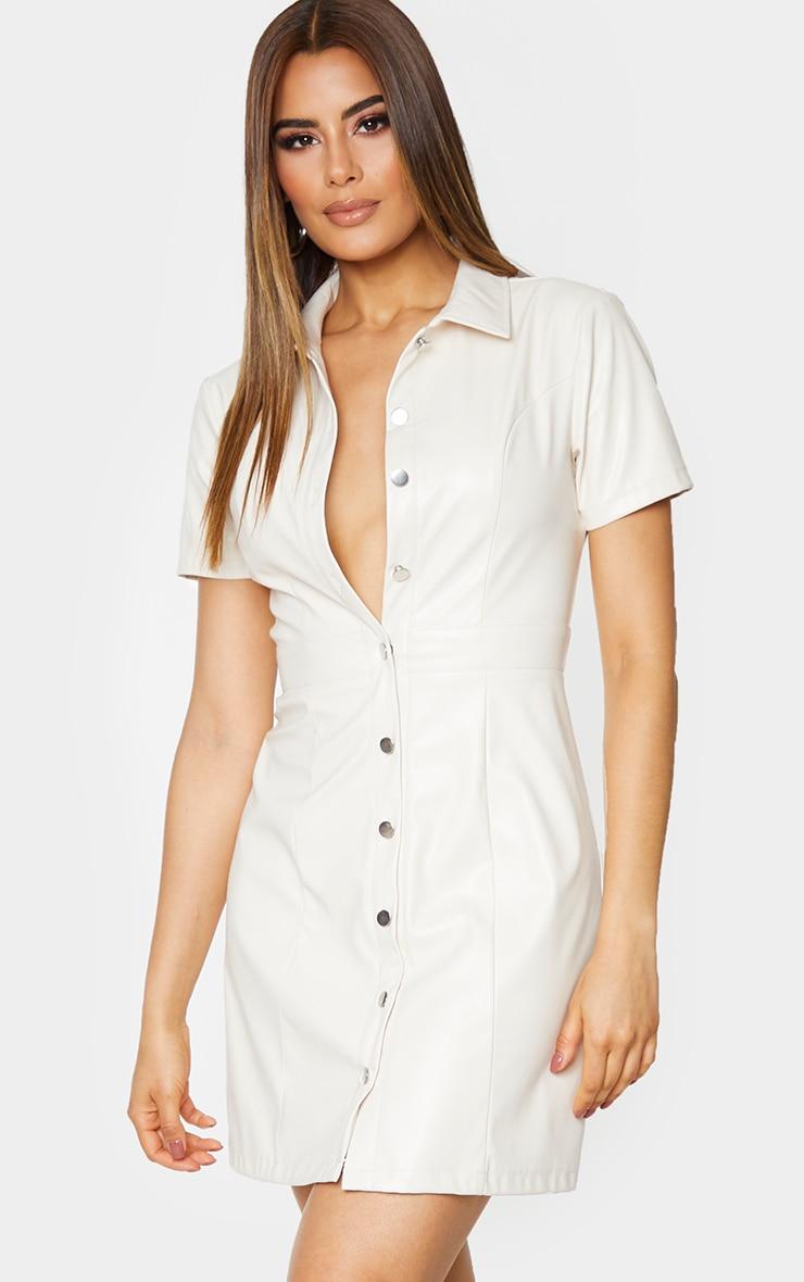 Tall Cream PU Shirt Dress 1
