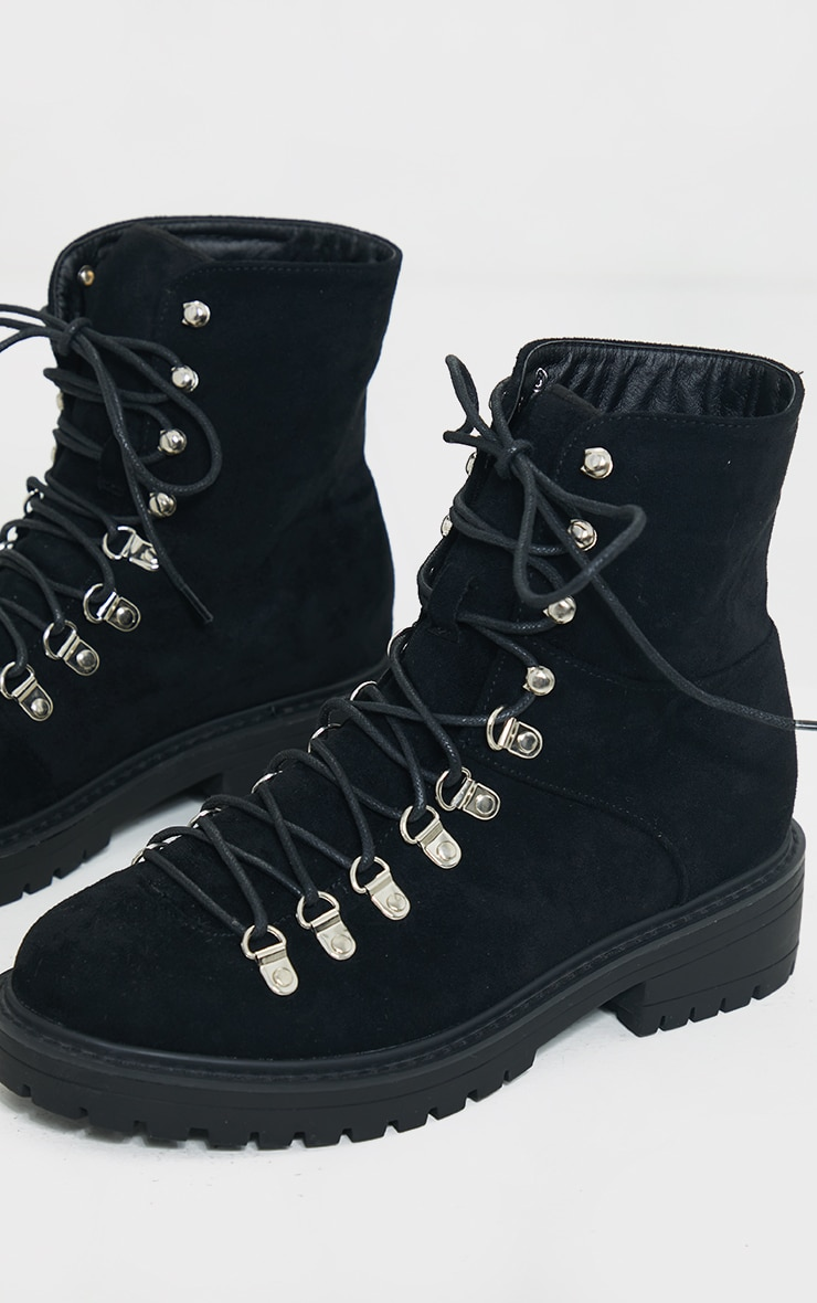 Black Borg Faux Suede Lace Up Hiker Boot 3