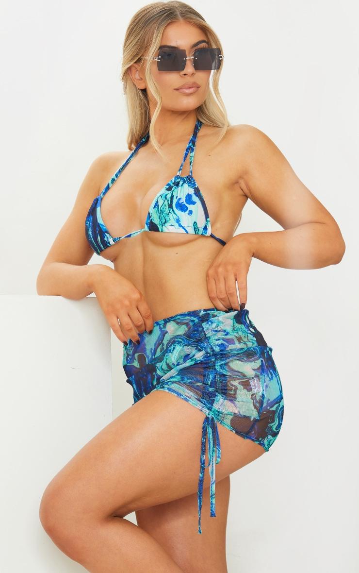 Blue Print Mesh Ruched Side Beach Skirt 4
